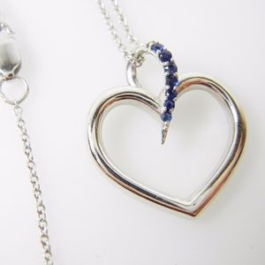 Jewelry - 14k White Gold Sapphire Heart Journey Necklace